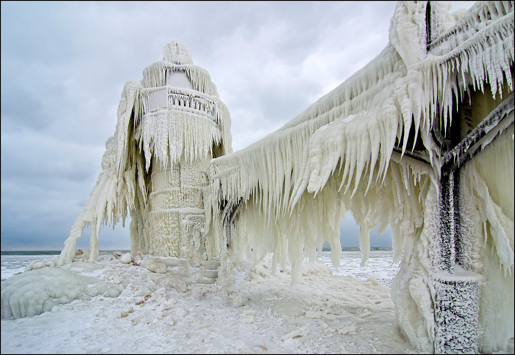 Ice Covered St. Joseph North Pier Lighthouse